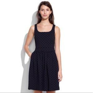 Madewell Black Dotted Velvet Dress